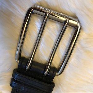 Michael Kors chunky buckle black belt